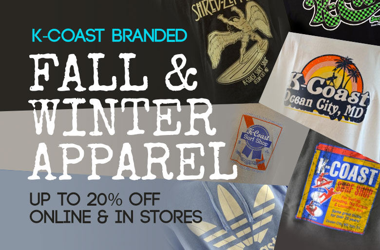 K-Coast branded Fall & Winter Apparel up to 20% off, Online and in stores.